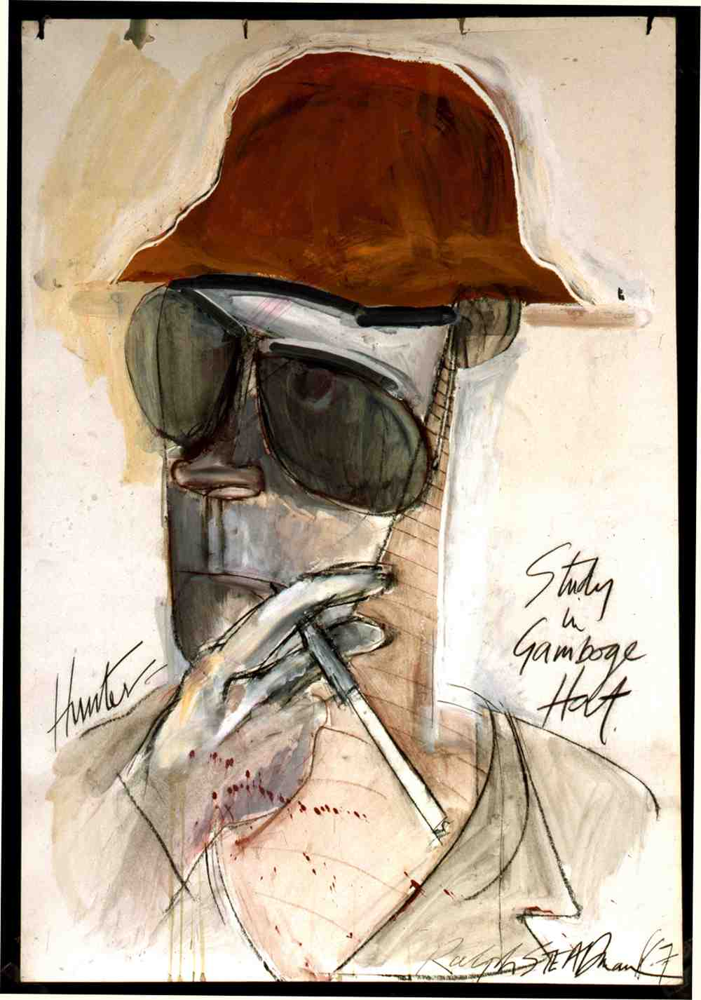 Hunter -- Study in a Gamboge Hat, by Ralph Steadman, courtesy of the artist. The 1987 portrait was drawn the year the author turned 50, and marked the only time Thompson 'sat' for a series of formal portraits by the artist.