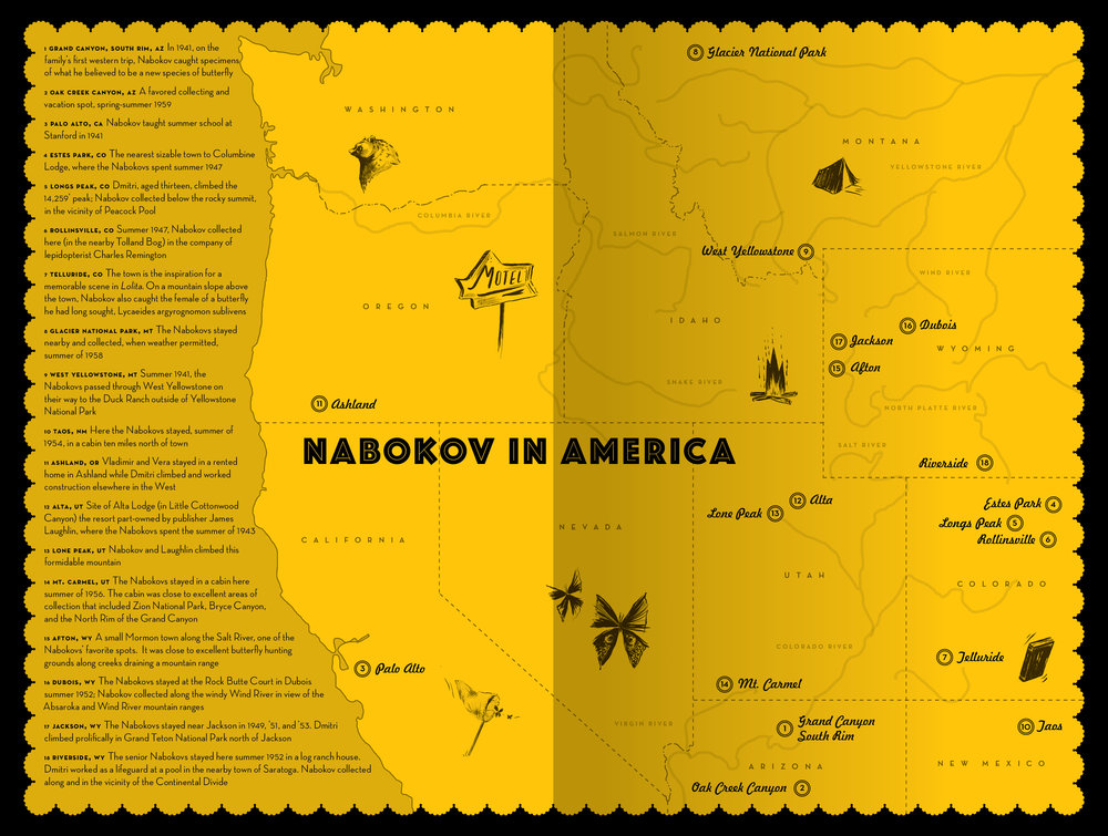 NABOKOV IN AMERICA ENDPAPER MAP