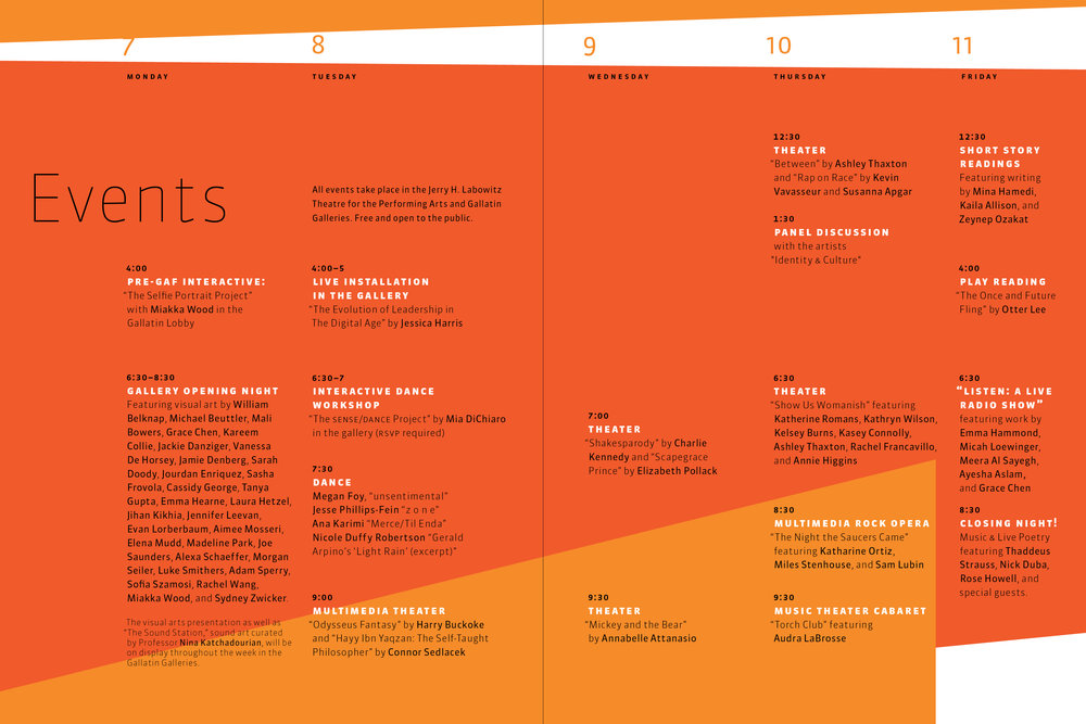 NYU Gallatin Arts Festival 2014 Catalog Spread