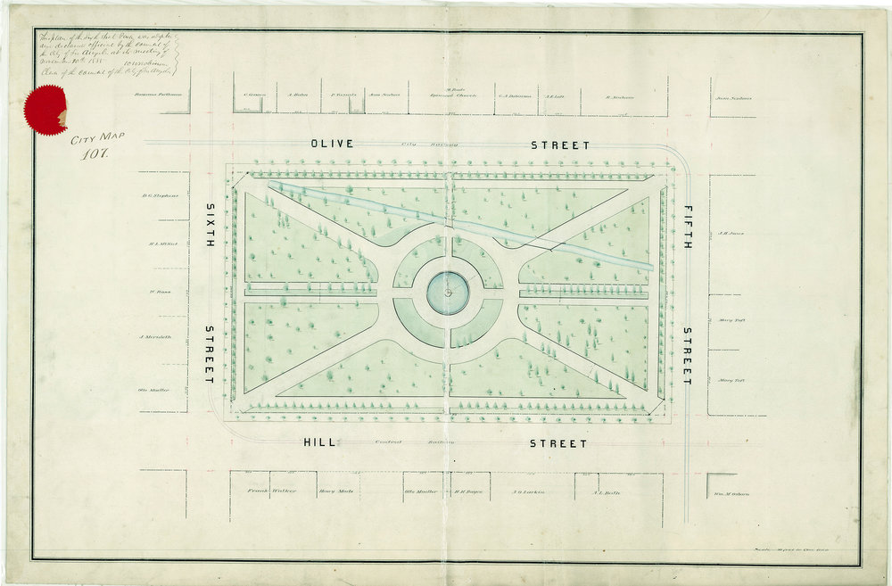 Official plan of Sixth Street Park in 1885. The zanja ditch is clearly shown crossing the park. Mary Taft's name appears over two parcels in the lower right.