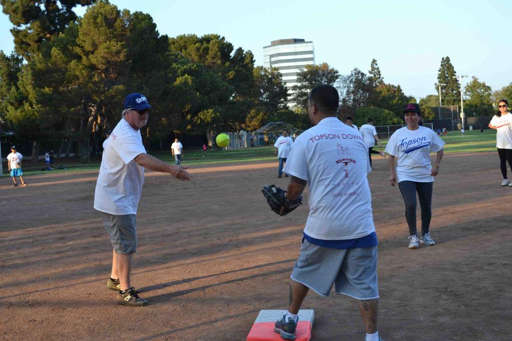 John throwing to Robert Salazer on First.JPG