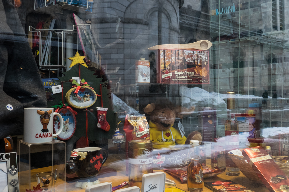 Maple treats and souvenirs are displayed in a window in Quebec City's Old Quarter.  Leyland Cecco/Al Jazeera America