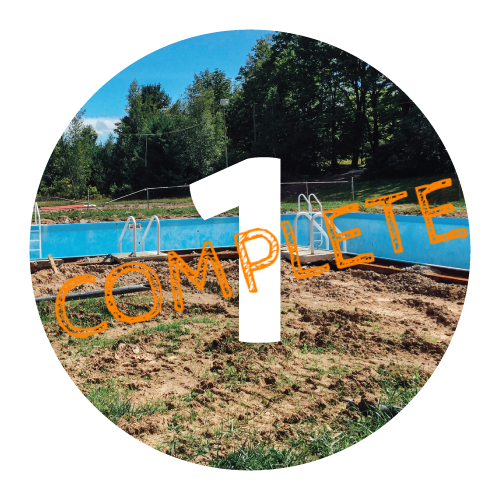 PHASE I—COMPLETE    Local engineer and code enforcement review and approve that plans meet safety standards.    Construct road for hauling equipment and material.    Excavation of concrete pool perimeter to evaluate additional repairs.    Excavation of pool equipment room and all pool walls to floor level.