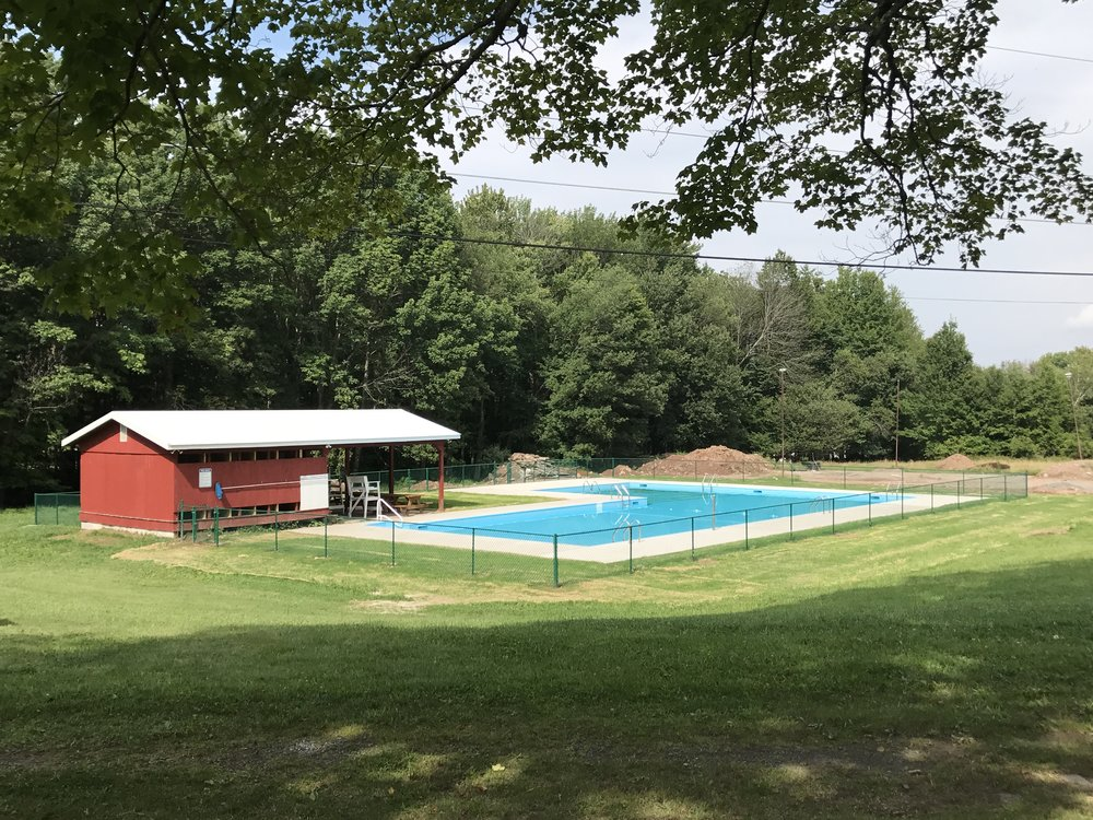 View of finished pool from the hill