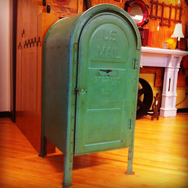 "1951 heavy steel ""US Mail Storage Box"". The entire front swings open to create easy storage. 25""W x 27""D x 55""H $2,200."