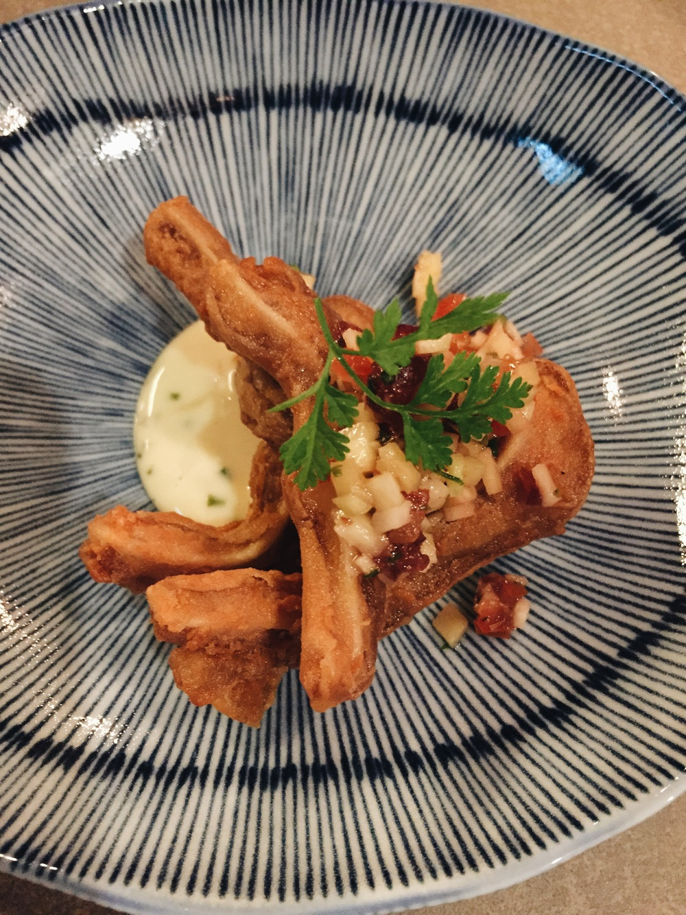 Har cheong gai - pig ears in shrimp paste batter house tartar sauce.