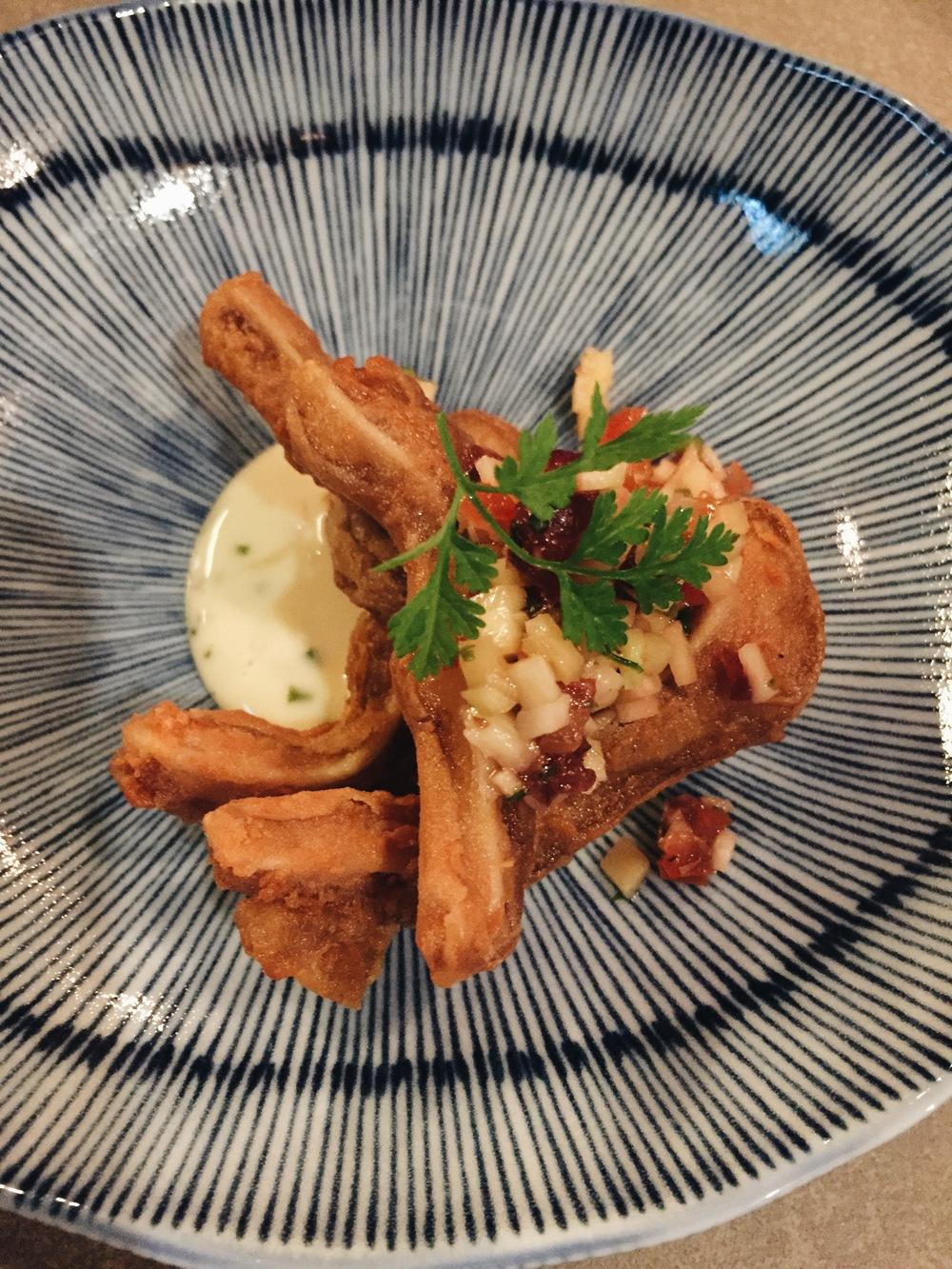 Har cheong gai - pig ears in shrimp paste batter house tartar sauce.