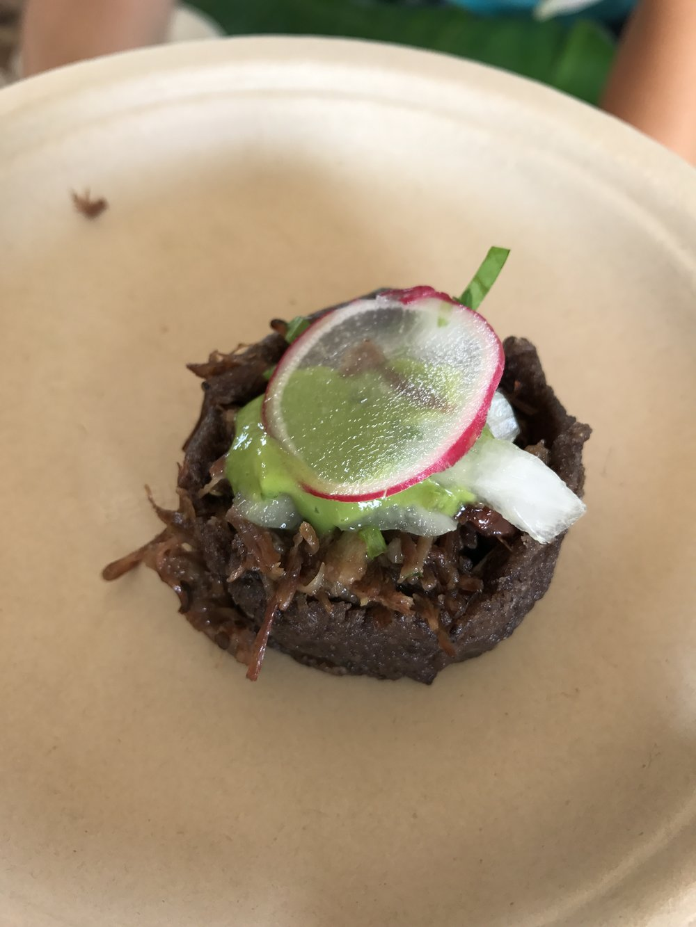 "Beef cheek in crunchy masa ""cup"" with avocado puree from Bajo Sexto. SO good."