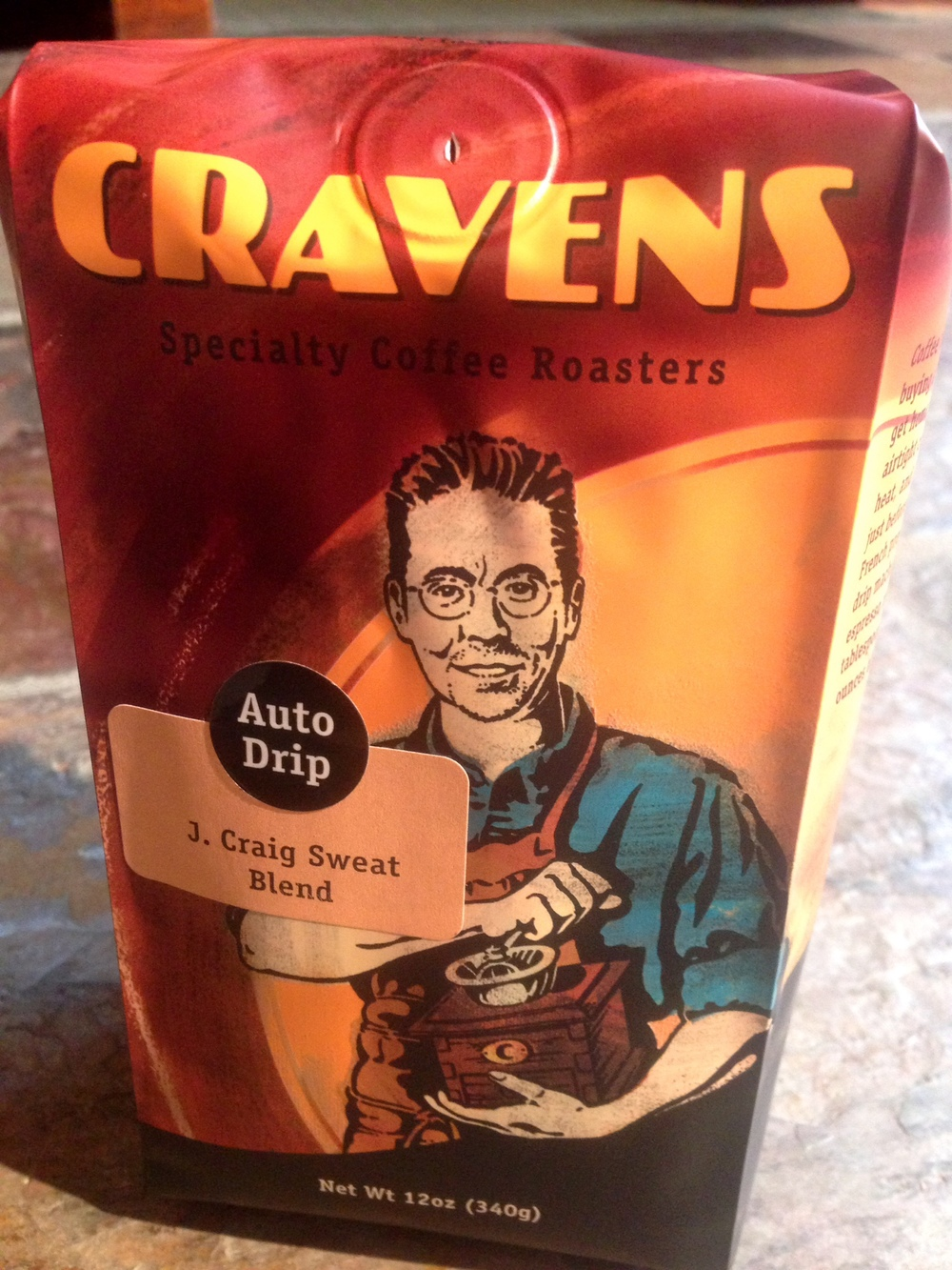 The bag above is a the J. Craig Sweat Blend. The design of the bag features an illustration of Simon Craven Thompson of the owners of Cravens coffee.