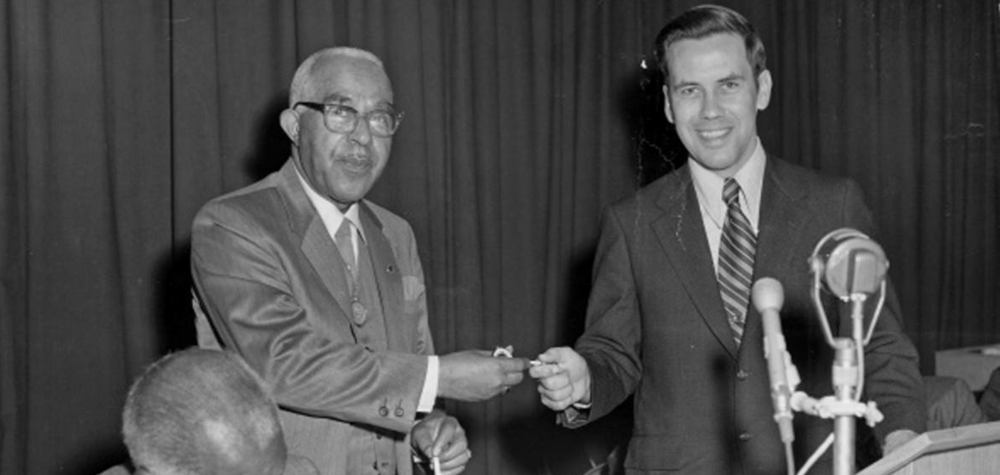 Henry J. Richardson, Jr. Receives the Key to the City from Indianapolis Mayor Richard Lugar (May 15, 1971). Photo credit: Indiana Historical Society Digital Collections.