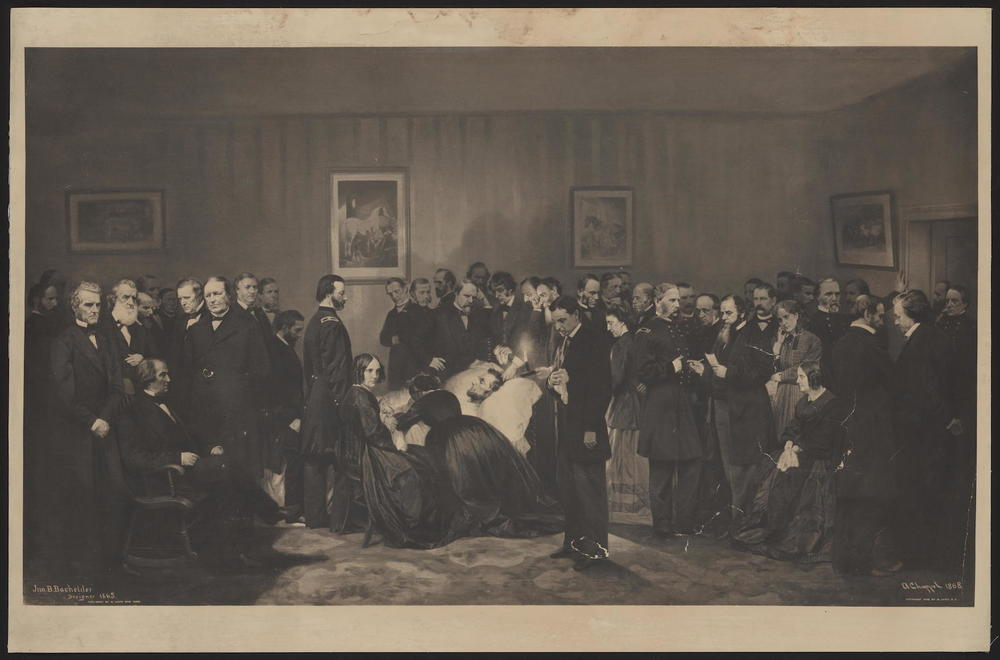 """Bachelder, Alonzo & David Print of Lincoln's deathbed"" (1909). Library of Congress, Rare Book and Special Collections Division, Alfred Whital Stern Collection of Lincolniana. Otto is standing directly above Lincoln (slightly to the left)."