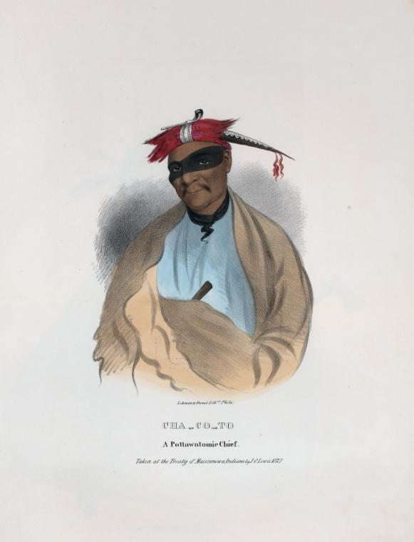 Cha-co-to, a Pottawatomie Chief. Lithograph by James Lewis Otto (1836). Image via NYPL Digital Collections.