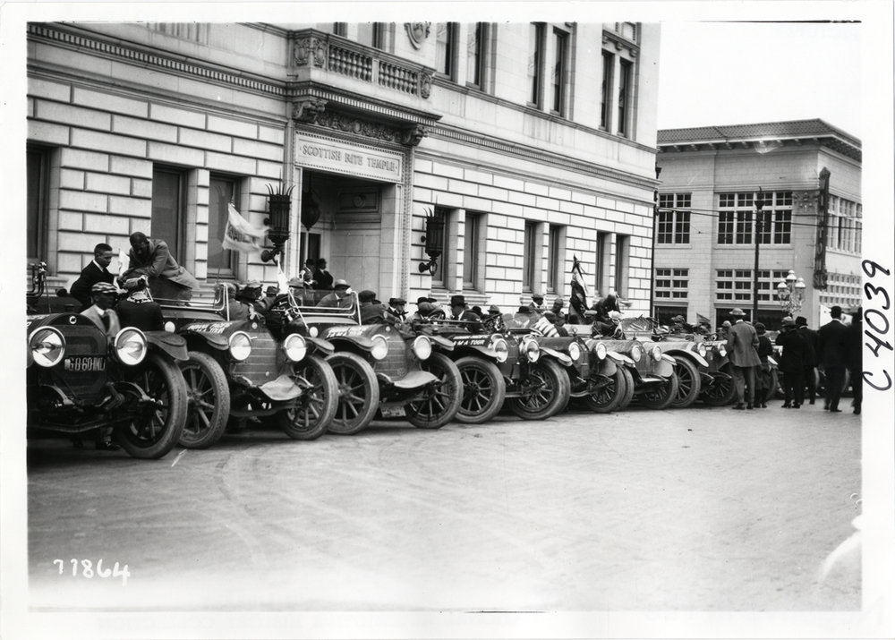 Vehicles parked in front of the Scottish Rite Temple, Indianapolis (ca. 1913). Image via Library of Congress.