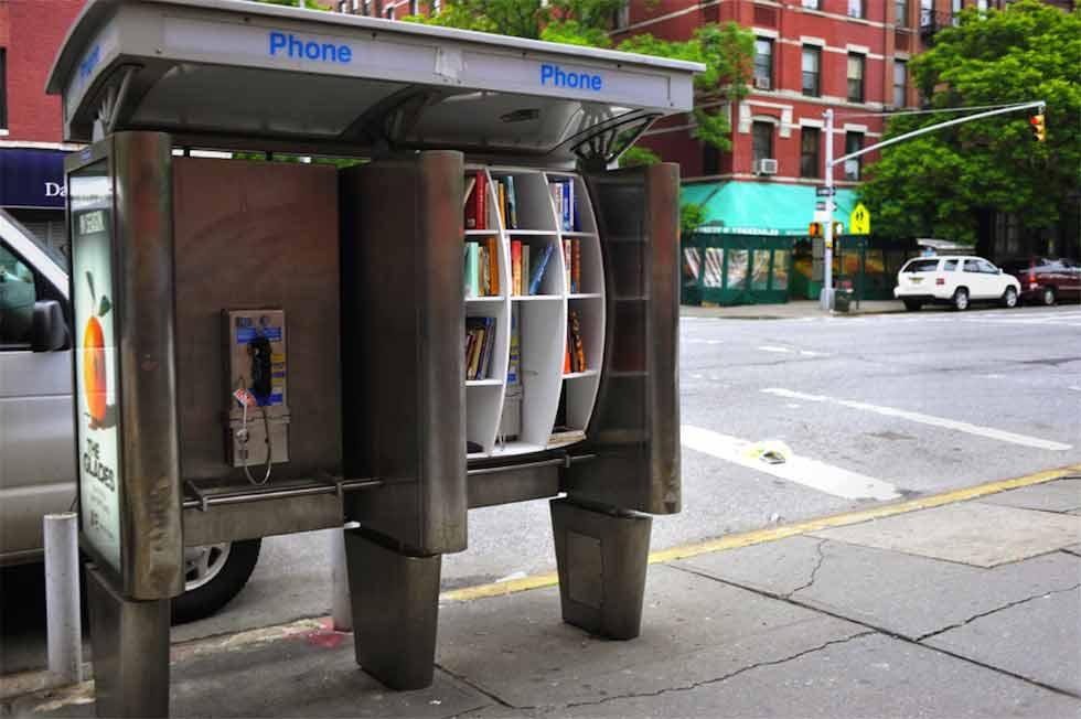 Una bibliocabina di New York, realizzata dall'architetto John Locke