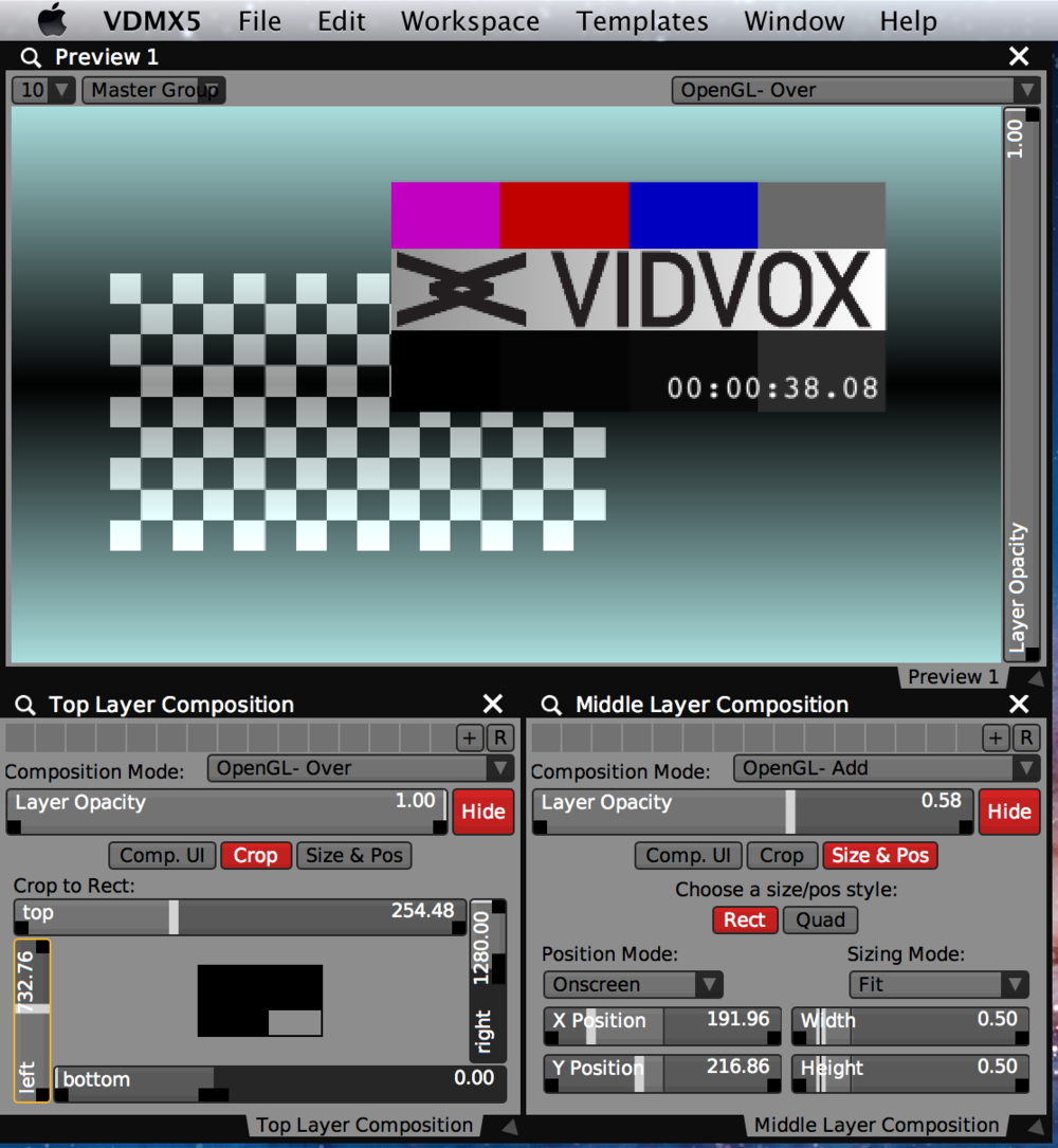 A three layer setup using blend modes, opacity, size, position and crop controls.