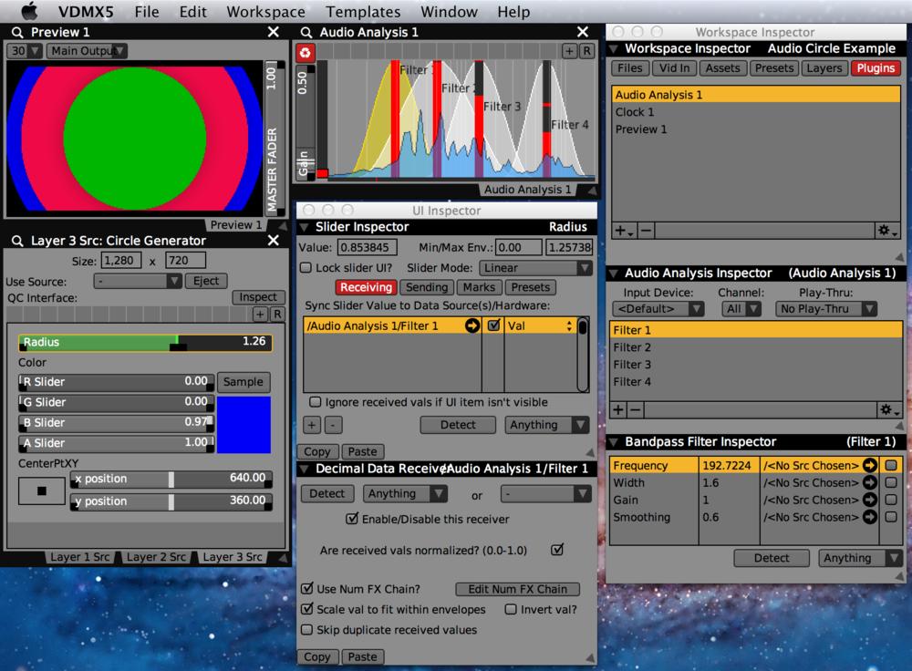 Audio Analysis controlling the radius of a circle generator.