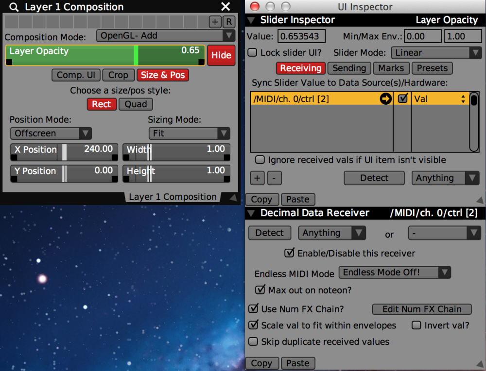 The Opacity Slider now receiving from MIDI ctrl 2 and the UI inspector with additional options.