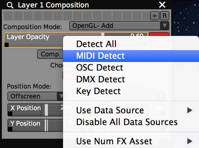 Selecting MIDI Detect from the slider contextual menu.
