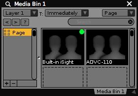 Live inputs added to a media bin.   See Media Bin Basics for more info.