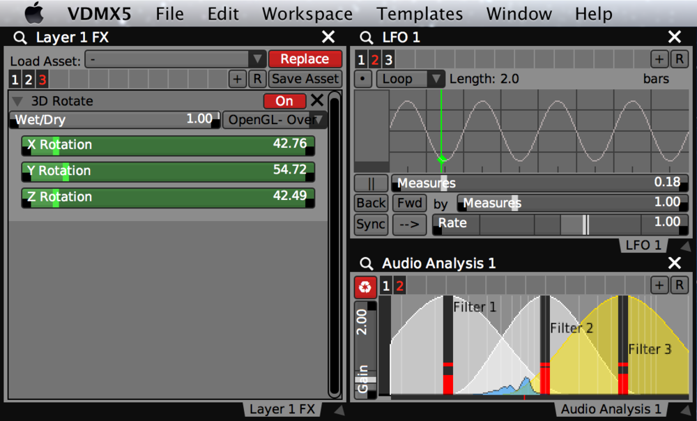 Section Presets being used in layer FX chains, LFO, and Audio Analysis.