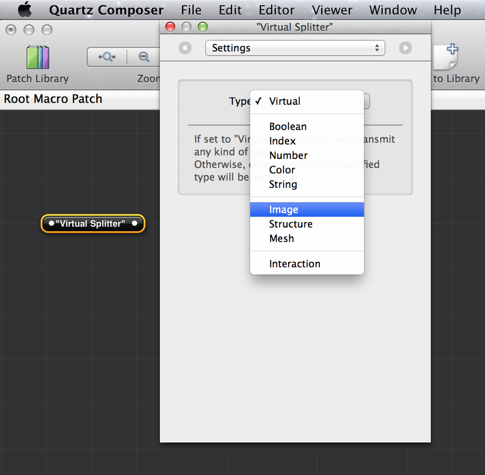 Setting the type of an input splitter object to Image.