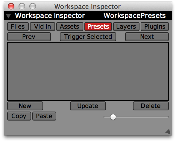 Presets section of the Workspace Inspector.