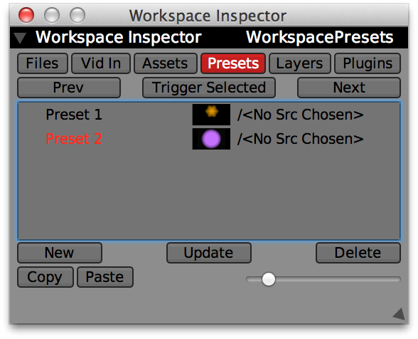Adding a second workspace preset.