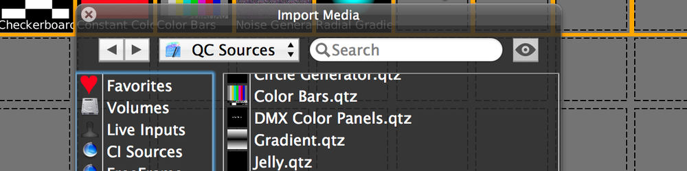 BUILT-IN SOURCES CoreImage text, and other generators can be directly accessed by layers like other media types.