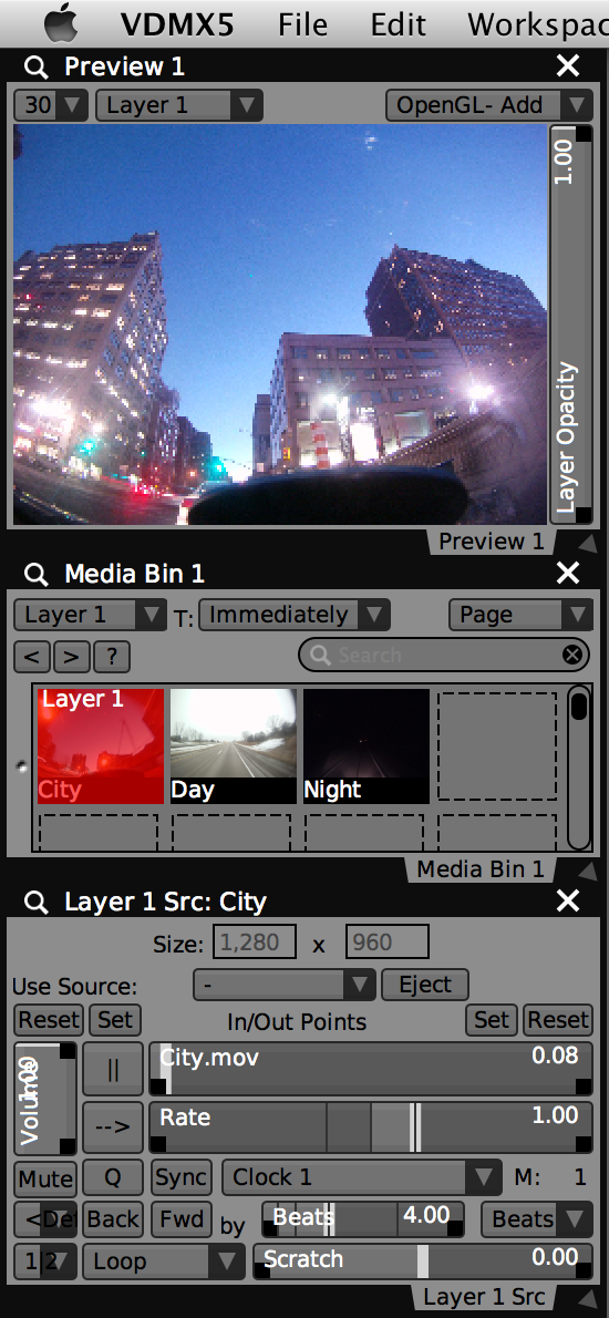 The movie 'City' looping on 'Layer 1'