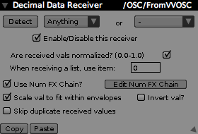 Decimal Receiver Inspector, receiving from an OSC source.