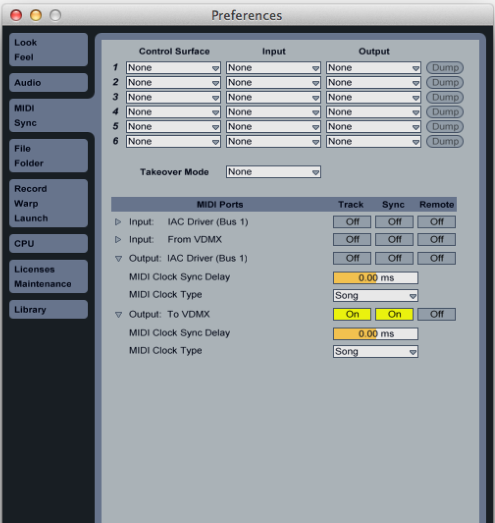 Ableton Live Preferences configured to send MIDI track and clock sync to VDMX.