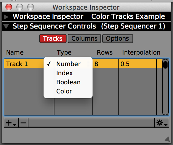 Changing the track type to 'Color'