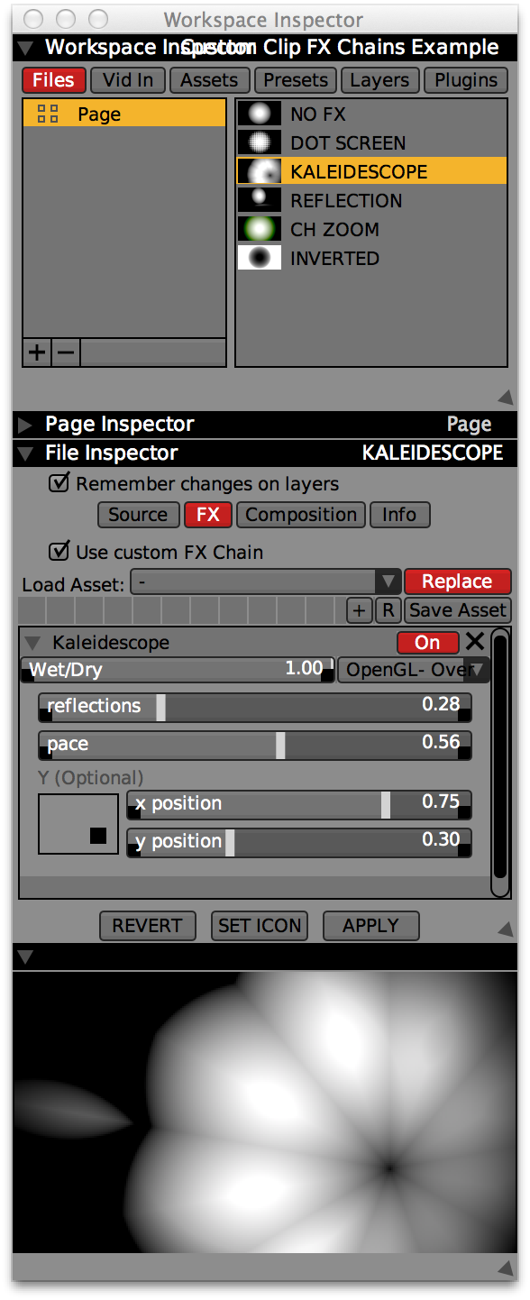 Setting a custom FX Chain for a clip in the File Inspector.
