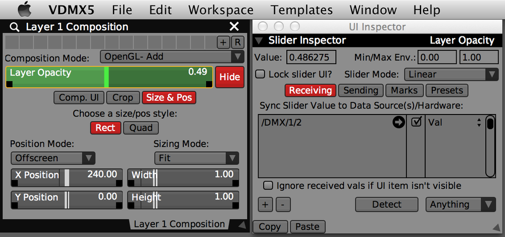 Inspecting the 'Opacity' slider for Layer 1, receiving on DMX Port 1 / Channel 2.