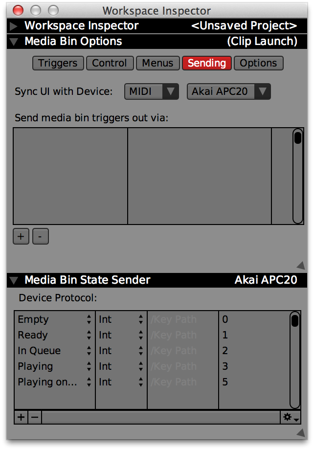 Media Bin inspector with APC20 set up for UI sync.