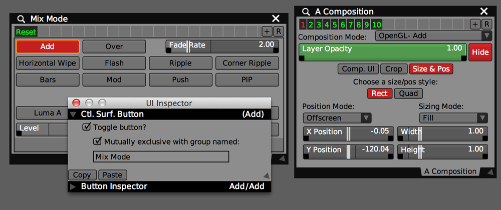 Mutually Exclusive 'Mix Mode' buttons are used to switch Layer Composition 'Section Presets'