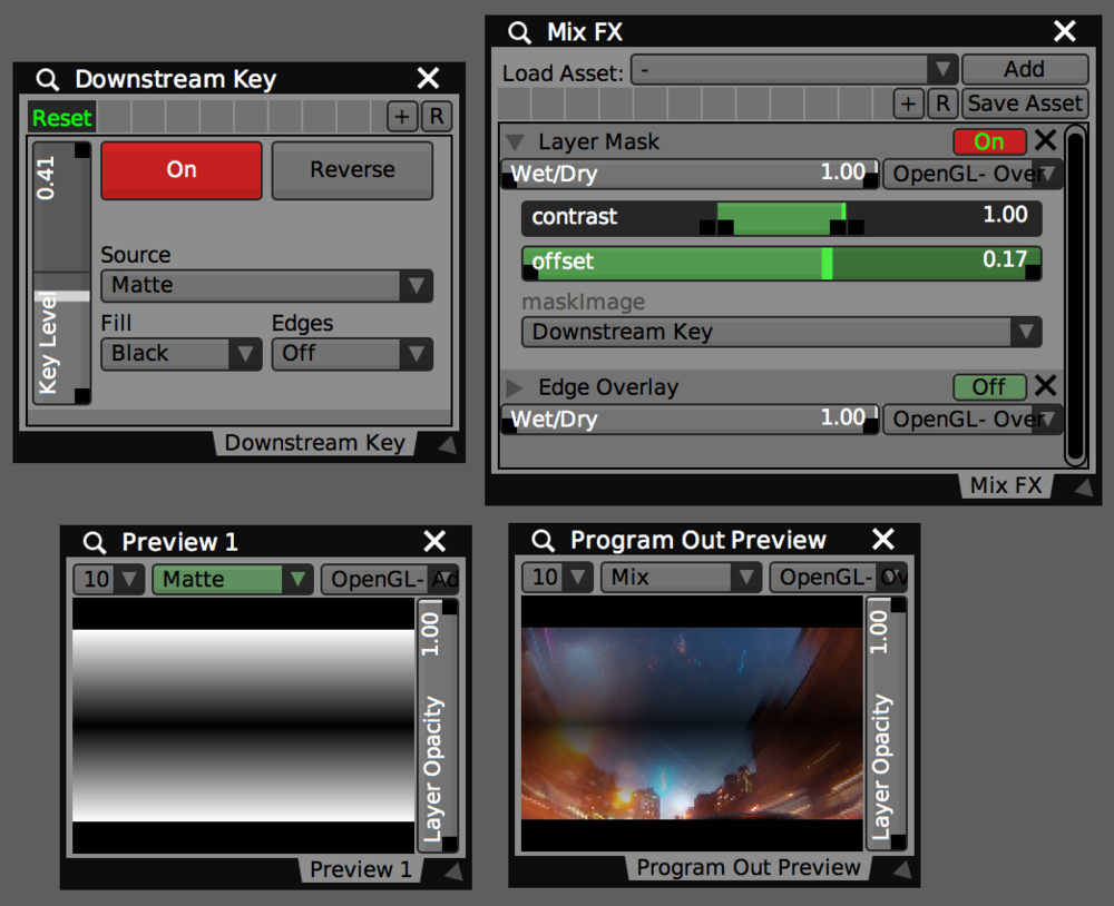 Settings in the Downstream Key panel adjust the Layer Mask and Edge Overlay on the mix.