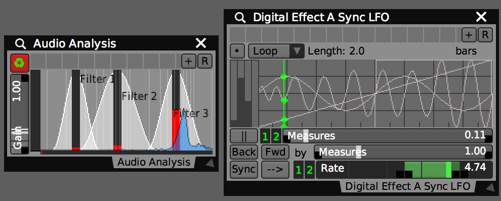 Audio Analysis, LFOs, and other plugins can provide data-sources for AV Sync and automation modes.
