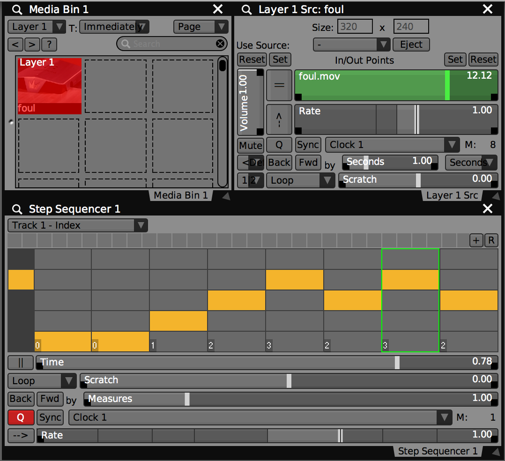 Step Sequencer in VDMX used to 'dice' the movie time on beat.
