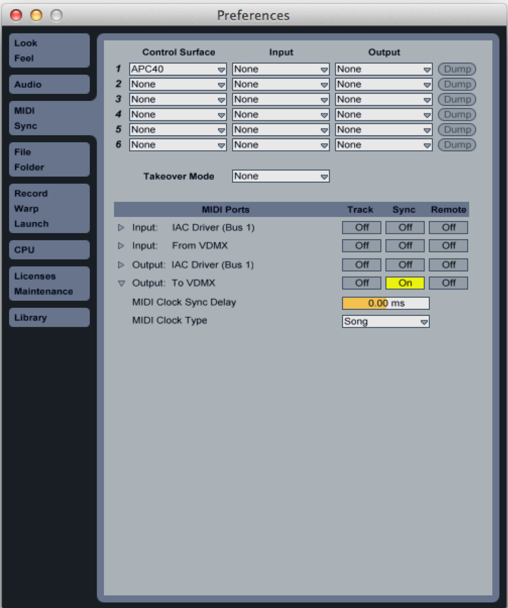 "In the Ableton Live Preferences in the MIDI tab under ""To VDMX"" set the ""Sync"" to ""On"" option to enable MIDI Clock output."