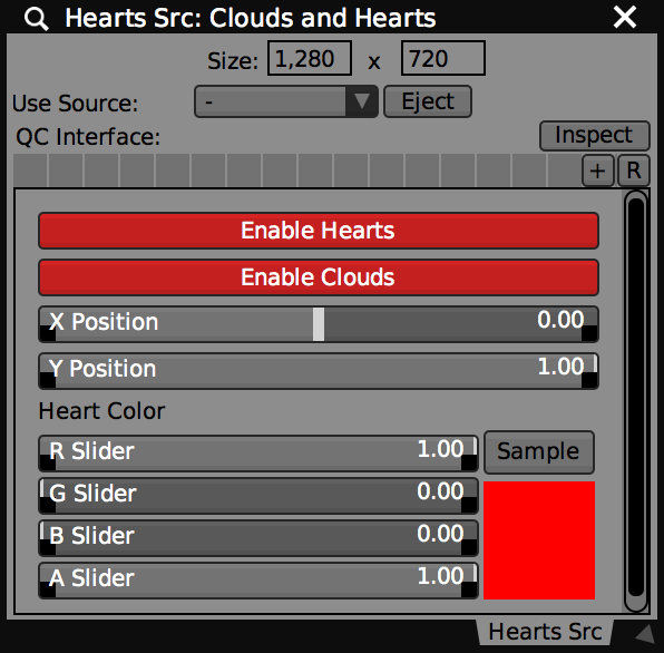 Clouds and Hearts composition contains controls for adjusting the position and color of the particles.