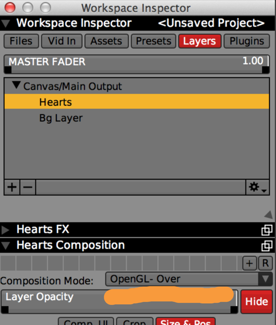 Set the 'Composition Mode' to 'OpenGL-Over' so the Hearts layer appears in front of the background instead of blended. Read more on Layer Composition Basics.