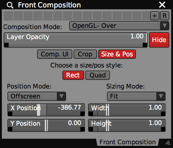 Layer Composition controls for the 'Front' layer with OpenGL- Over mode.