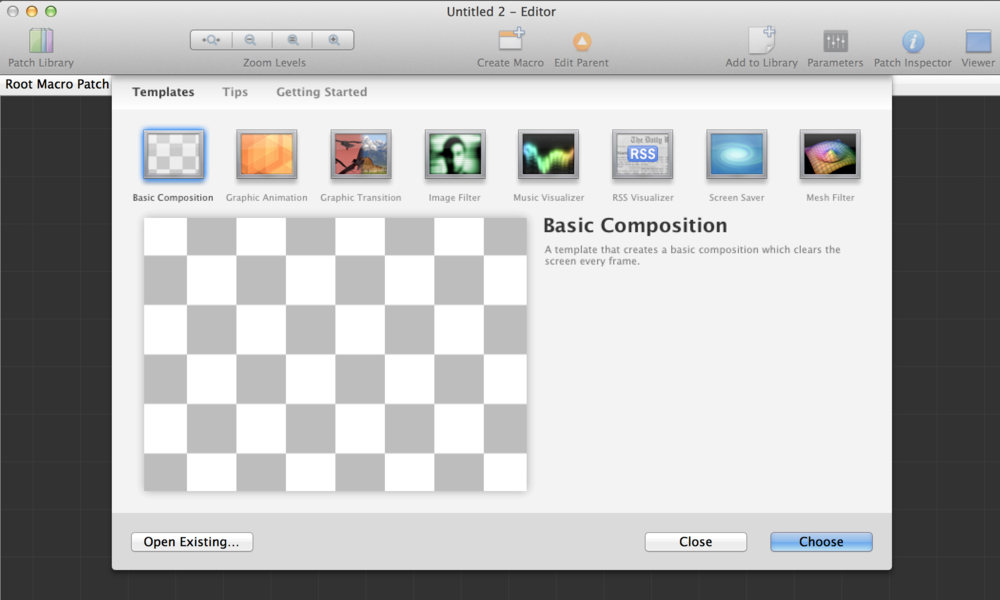 Start with the 'Basic Composition' template from the New Project wizard.