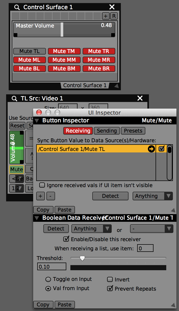 Control Sufrace with 'Master Volume' and 9 mute buttons to control each layers audio controls. UI Inspector showing settings for TL Source Mute button.
