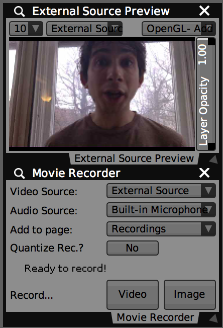 Using 'Movie Recorder' and 'Preview Window' plugins for live sampling.