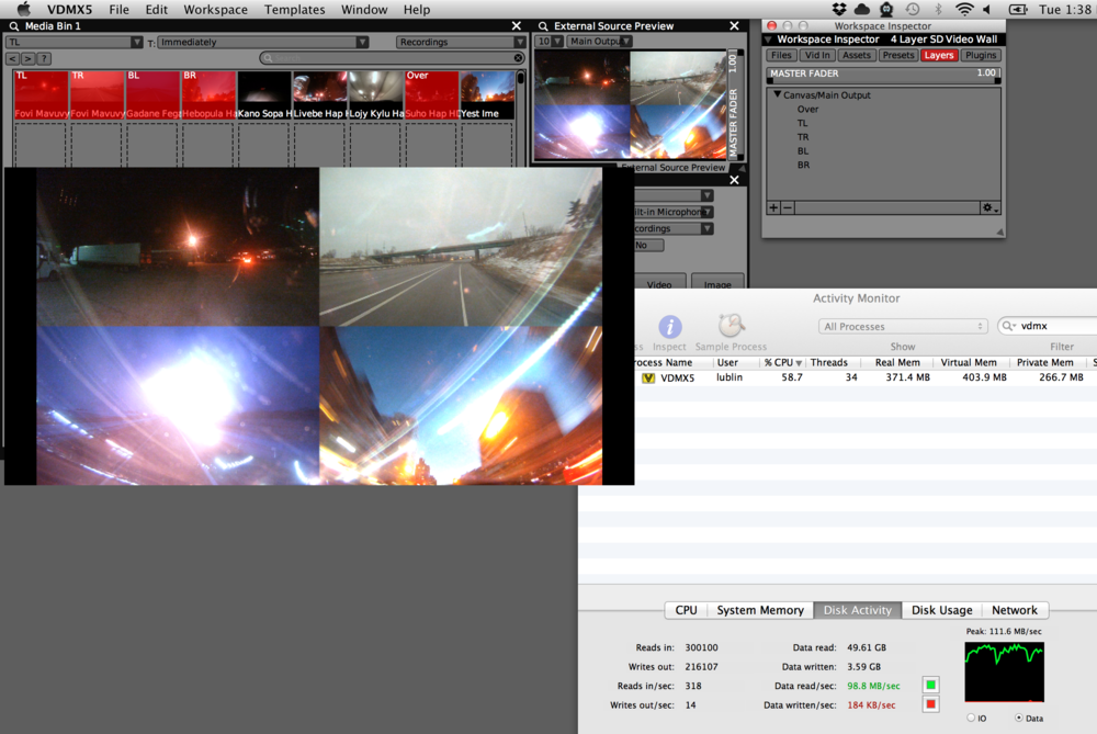5 Layers of 1080p encoded in Hap playing in VDMX on 2.6 GHz Intel Core i7 Retina MacBook Pro.