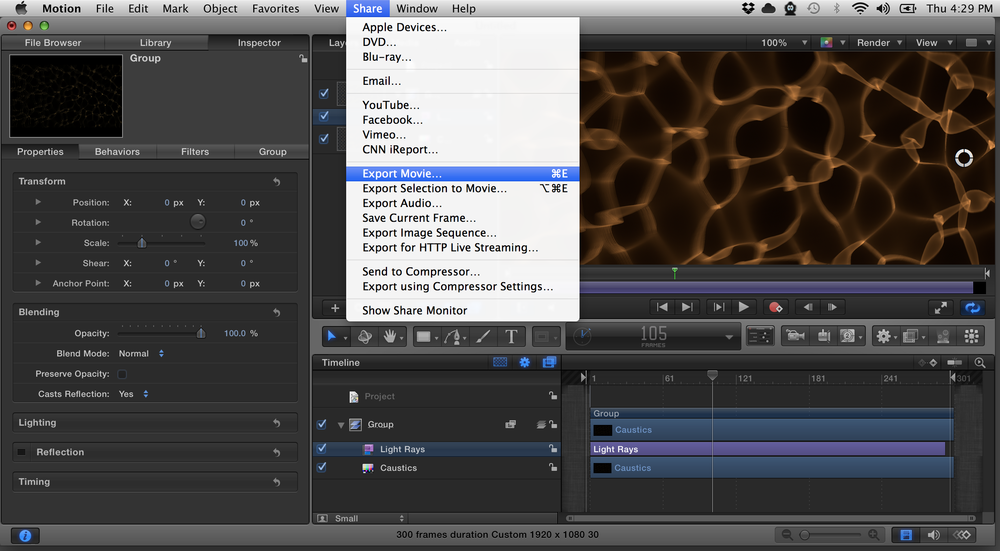 Choose 'Export Movie' to use in other video apps like VDMX.