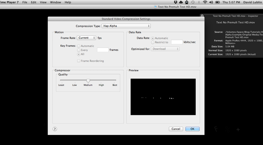 Transcode the movie to the 'Hap Alpha' compression type with any QuickTime export utility.