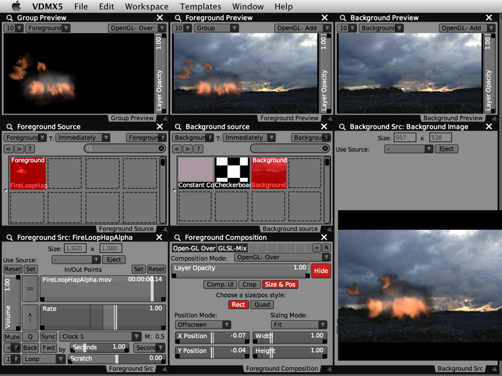 Basic fire and smoke particles from Motion encoded as 'Hap Alpha' playing on a foreground layer in VDMX.